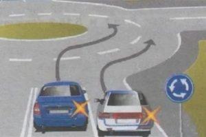 При заезде на кольцо какой поворотник включать