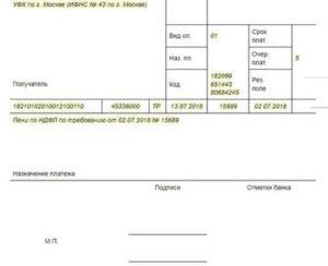 Назначение платежа по уплате пени по ндфл