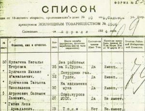 Списки жильцов дома по адресу москва