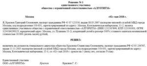 Решение единственного учредителя о назначении генерального директора