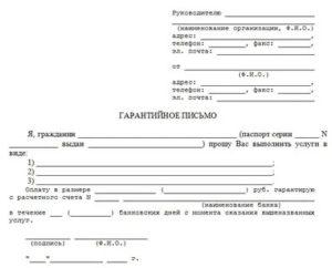 Гарантийное письмо образец об оплате беларусь