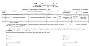 Акт приемки выполненных работ с замечаниями образец