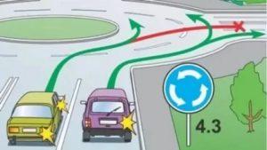 На круговом движении какие поворотники включать