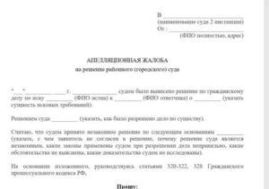 Образец апелляционная жалоба о взыскании алиментов