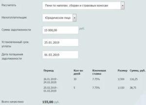 Расчет пени по налогу на имущество организаций