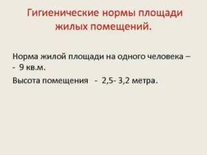 Санитарная норма жилой площади на человека